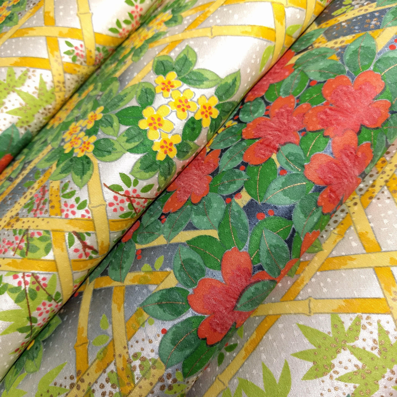 Silk Kimono Fabric With Floral Trellis Scene And Metallic Gold Etsy Kimono Fabric Metallic Gold Color Floral Pattern