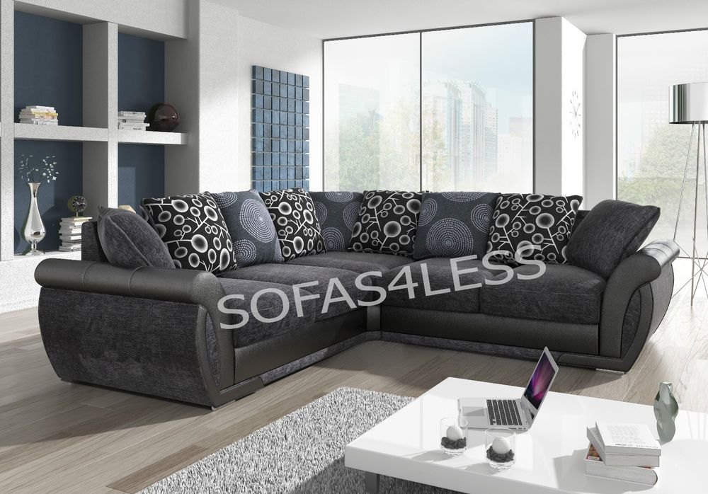 New Shannon Leather Fabric Corner Sofa Black Grey Brown Armchairs Available Corner Sofa And Armchair Leather Corner Sofa Best Leather Sofa