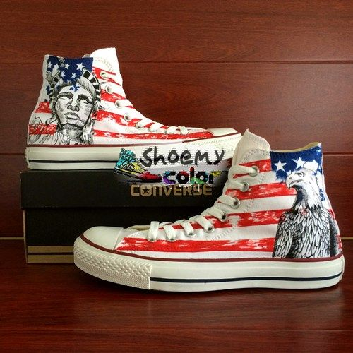 American Flag Statue Of Liberty Converse Hand Painted Canvas
