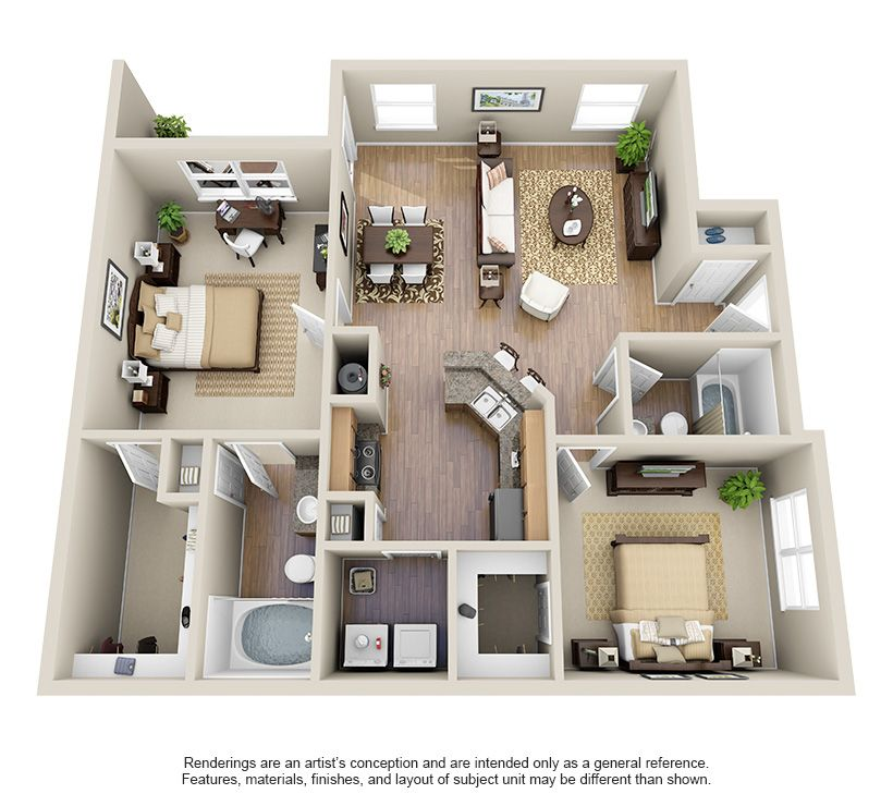 One Two Three Bedroom Apartments For Rent Villas At Huffmeister Houston Texas Apartment S Apartment Floor Plans House Layout Plans Sims House Plans