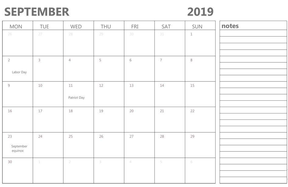 September 2019 Calendar Editable Calendar Calendar Printables