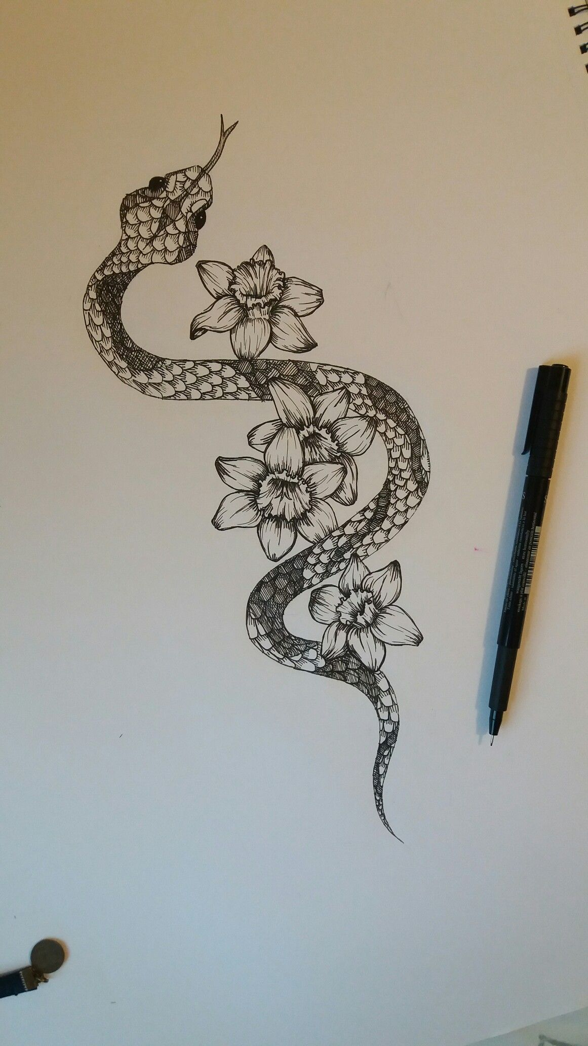 Snake with narcissus flowers cool tattoo Spine tattoos