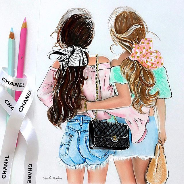 Best Friends Girls Bow Migliori Amiche Ragazze Fiocco Art By