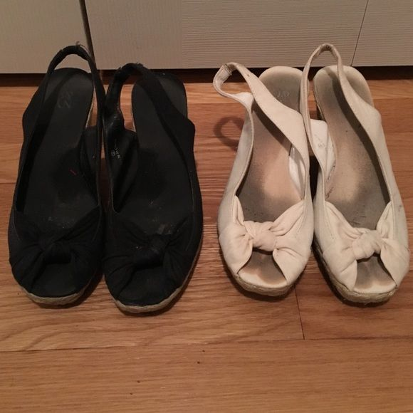 2 for 1 wedges! 2 wedges for the price of 1! Black pair and white pair. Worn but still great shoes New York & Company Shoes Wedges