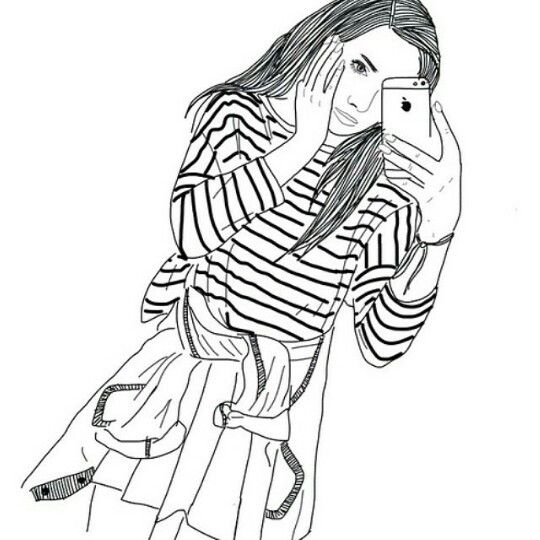 Iphonejacketgirloutlinesphotoselfie Dessin Noir Et
