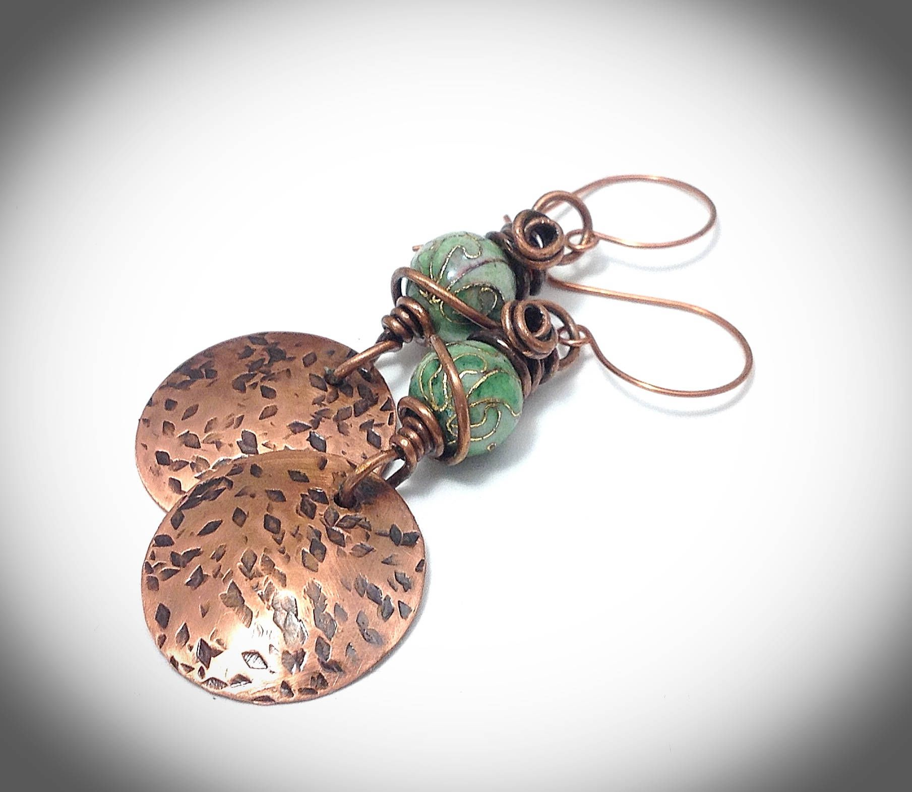 Wire earrings. Copper wire earrings. Cloisonne beads. Handcrafted ...