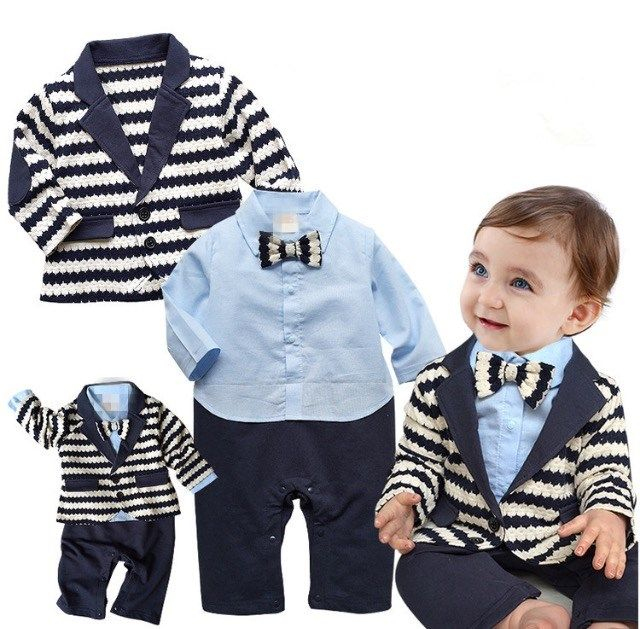 b888ea1807e8 Baby boy trendy and fashionable gentleman striped Romper and coat! Made  from cozy materials so