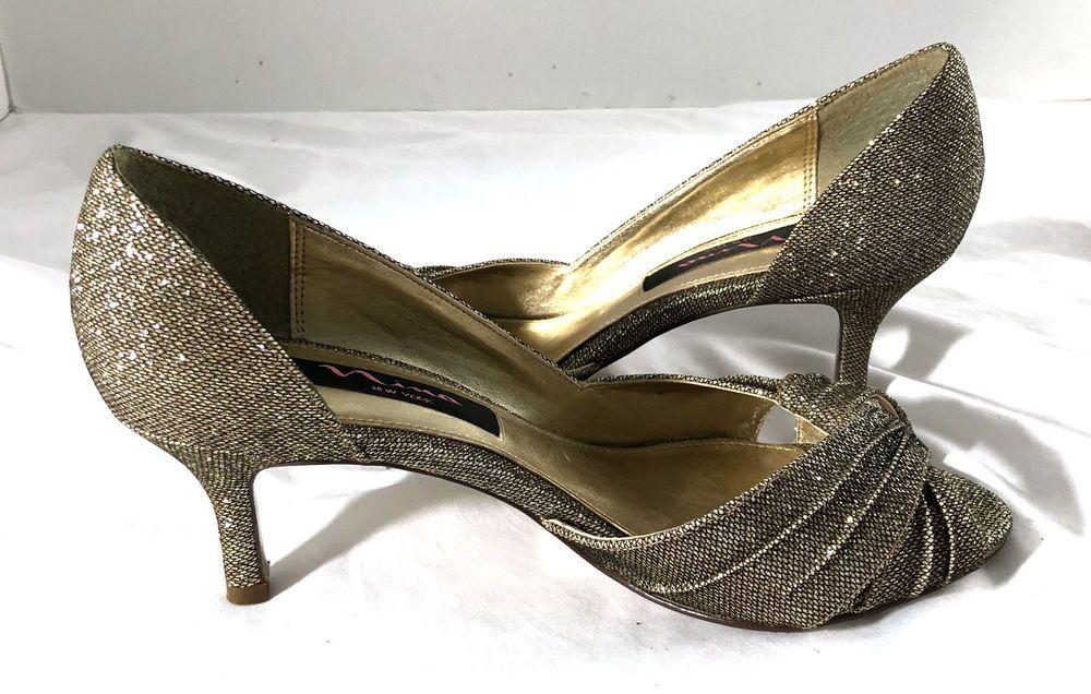 e7c5c2bea87f Nina New York 7.5 M Dark Gold Sparkly Heel Peep Toe Pleating Detail Party  Shoes  NinaNewyork  Classics  Partyevening