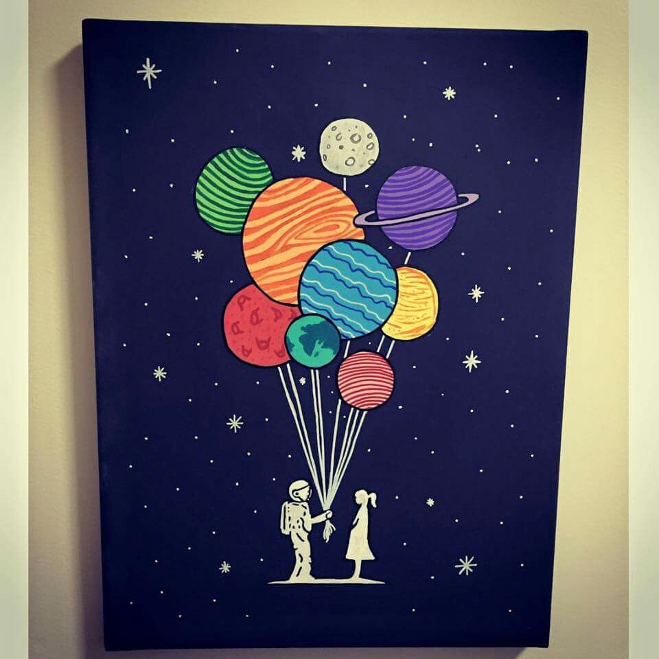 Space Canvas Planets Painting Diy Cute