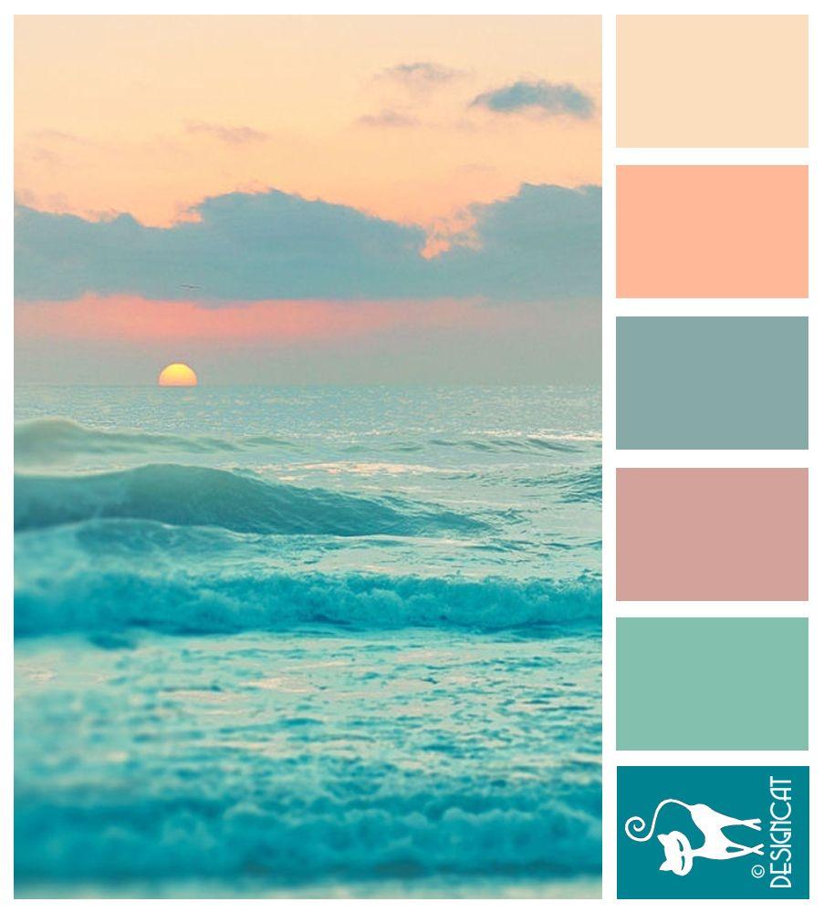 Ocean Sun Teal Blue Tiffany Pink Peach Blush