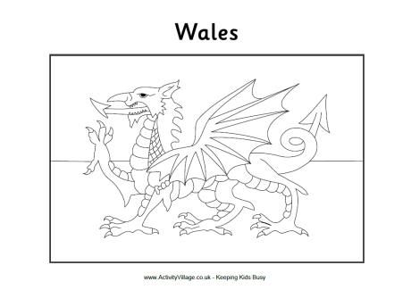 Welsh flag colouring page beavers Wales flag, Flag coloring