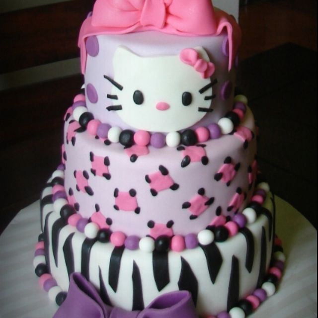 Hello Kitty and zebra birthday cake Party Ideas Pinterest
