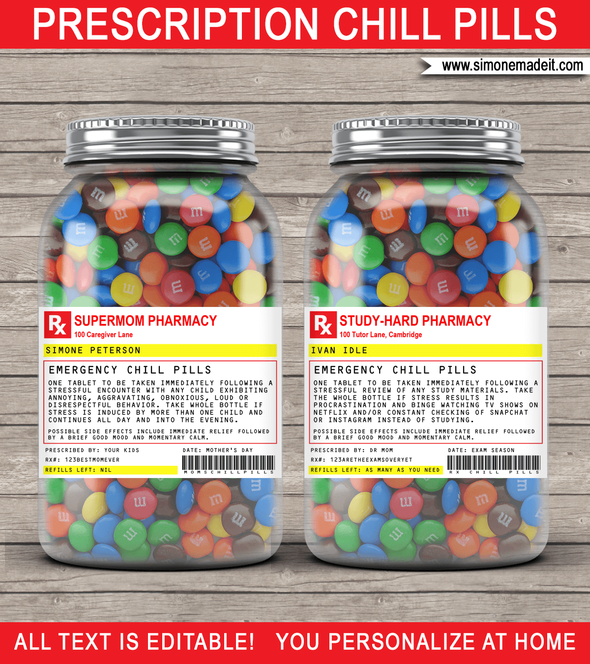 Gag Prescription Label Templates Chill Pills Label Candy