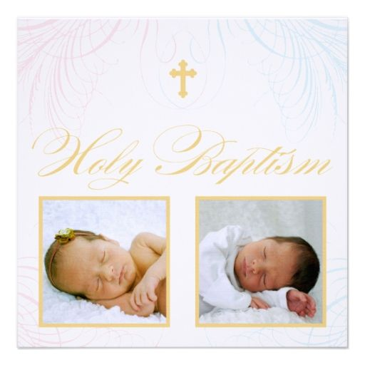 Boy and Girl Twins Photo Baptism Invitation Baptism \ Christening - sample baptismal invitation for twins