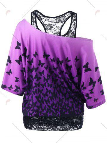 Skew Collar Racerback Butterfly Print T-Shirt - BLACK/PURPLE L Mobile
