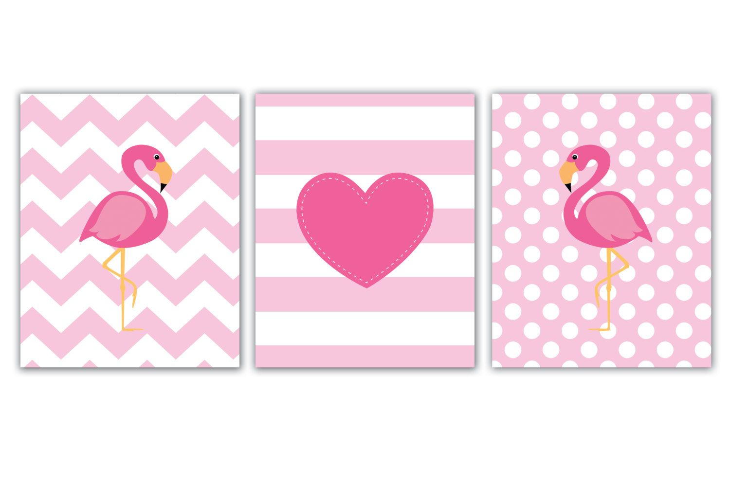Kinderzimmer wand zitate this too flamingo print set nursery wall decor in pink and by