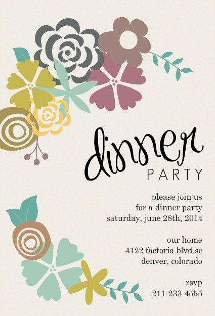 Modern Floral Dinner Party Invitation  Home Entertaining