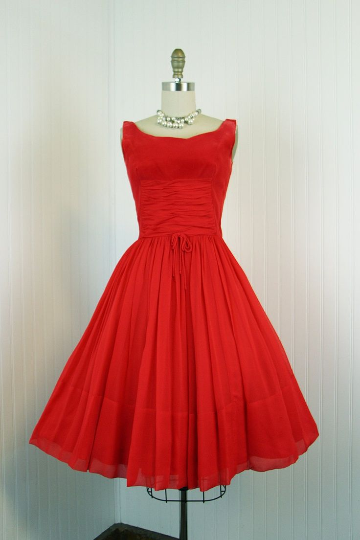 1960's Red Chiffon Party Full Skirt Cocktail Dress | Remembrance ...