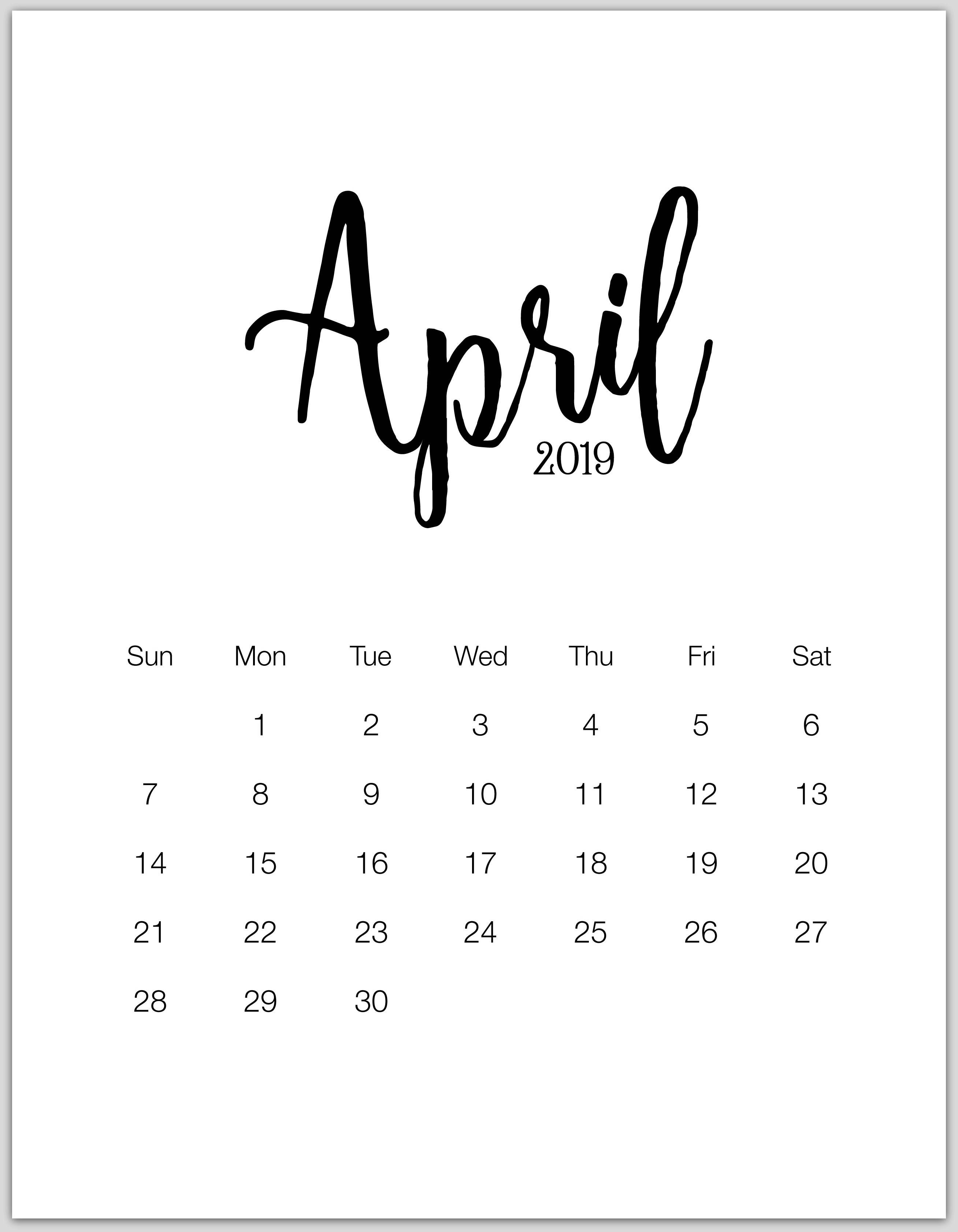 April Minimalist Calendar