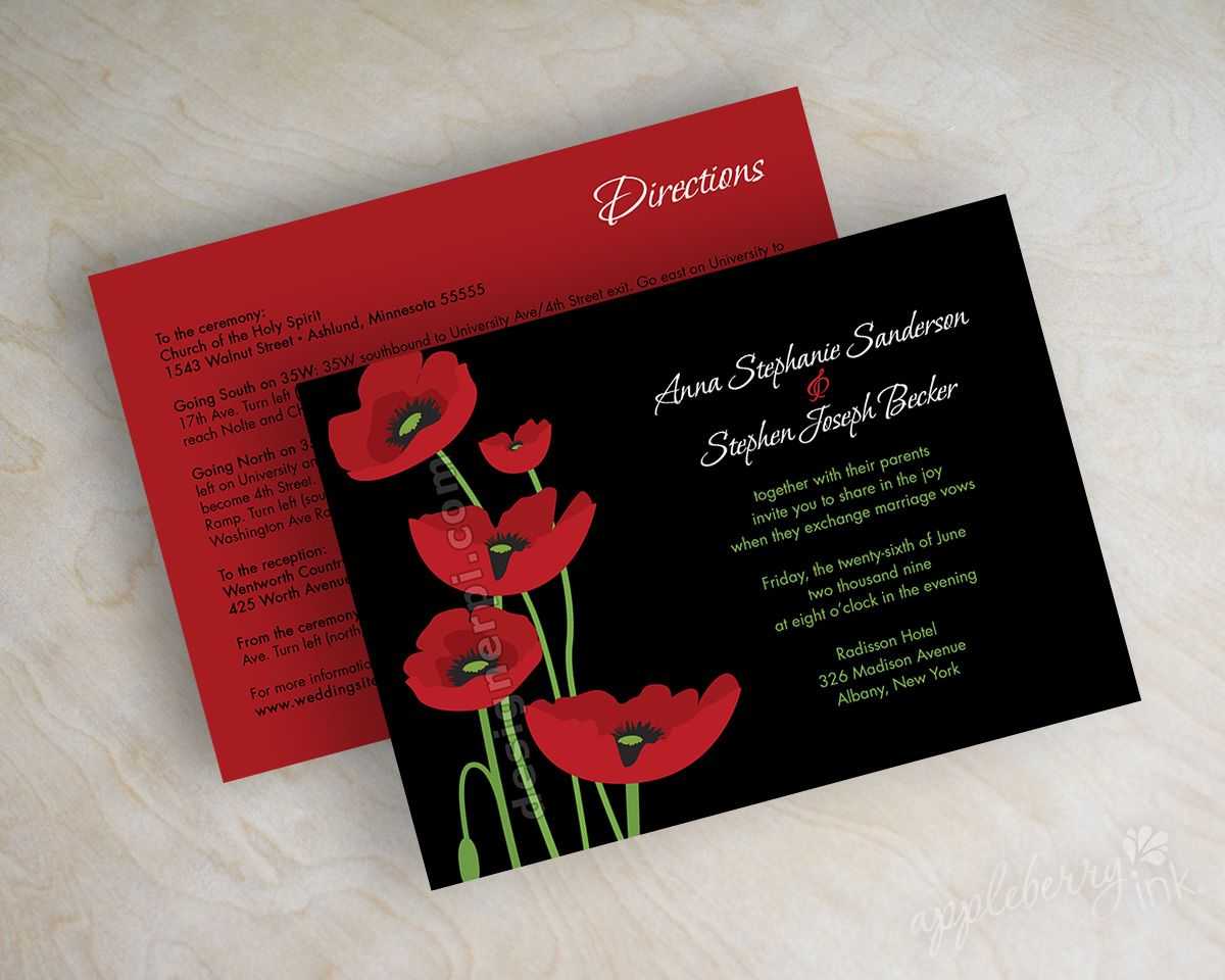 Red and black poppy wedding invitations, wedding invites www ...