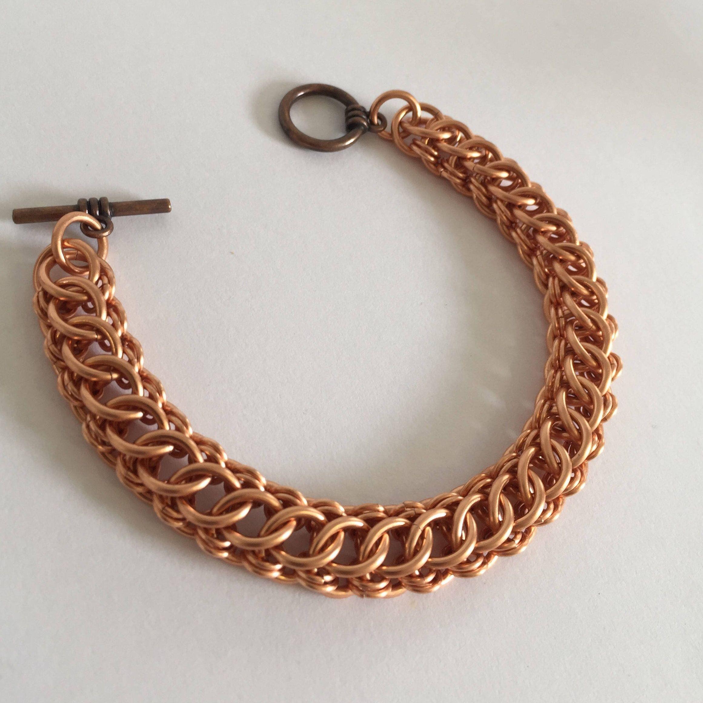 Copper Bracelet Men, Copper Chainmaille, Male Bracelet, Copper Chain Link  Bracelet, Mens Metal Jewelry, Male Birthday Gift In Copper