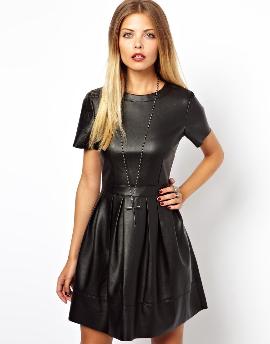 Skater Dress In Leather Look   Leather, Leather dresses and Midi ...