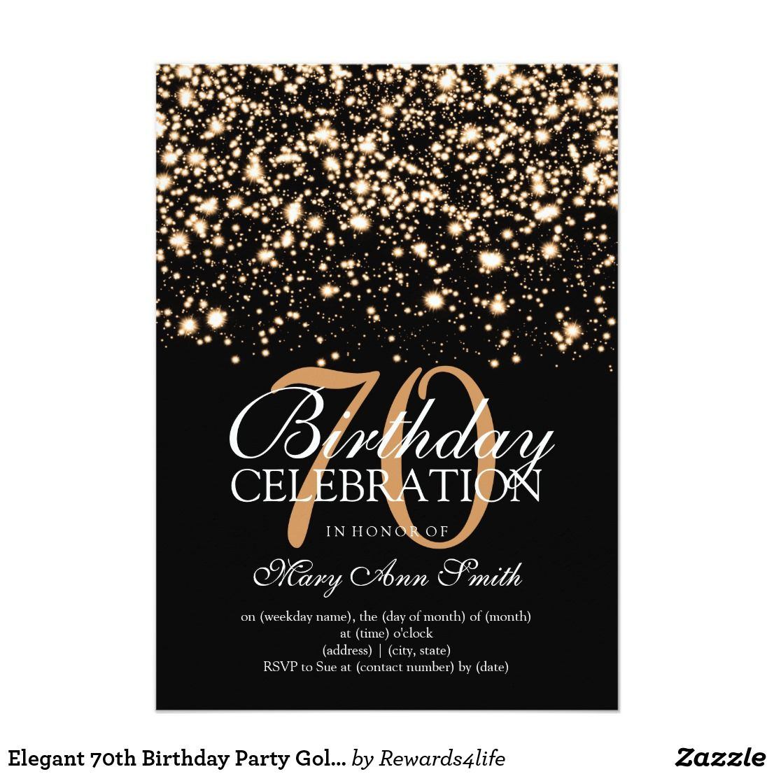 Elegant 70th Birthday Party Gold Midnight Glam Card Invitation Template Featuring Lights And