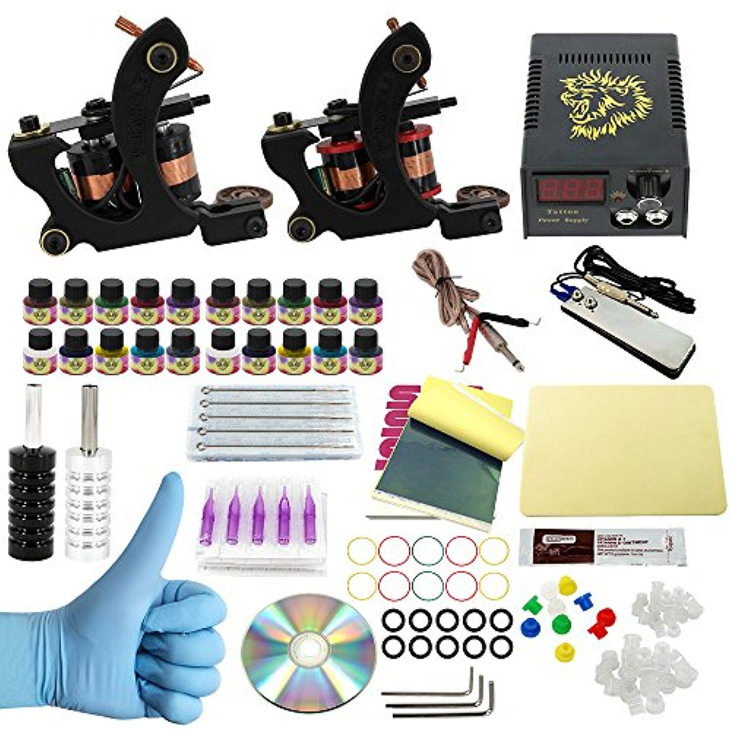 Wormhole Tattoo Complete Kit 2 Machines Power Supply Coil Machine Diagram 20 Needles Color Inks