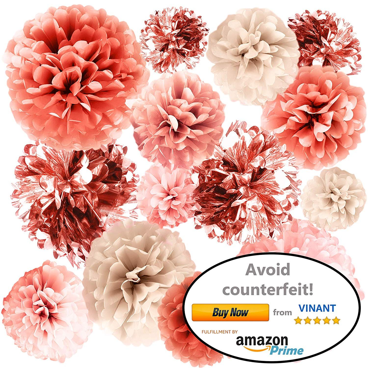 Vinant 20 Pcs Rose Gold Party Decorations Metallic Foil And Tissue Paper Pom Poms 15 00 Rose Gold Party Decor Gold Party Decorations Rose Gold Party