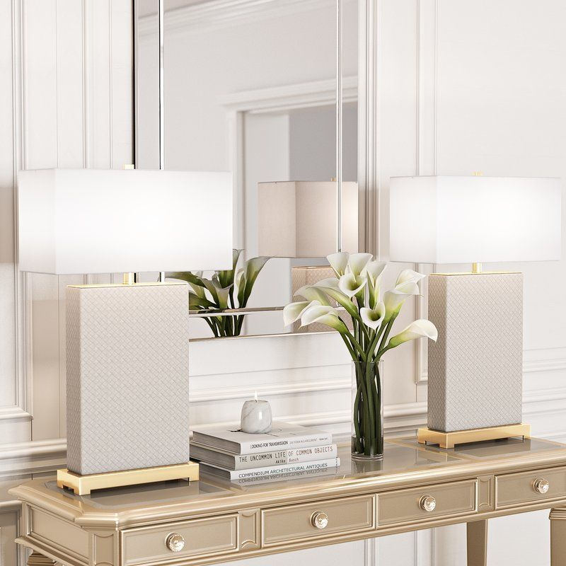 "Maris 29.5"" Table Lamp Set Table lamp sets, White table"