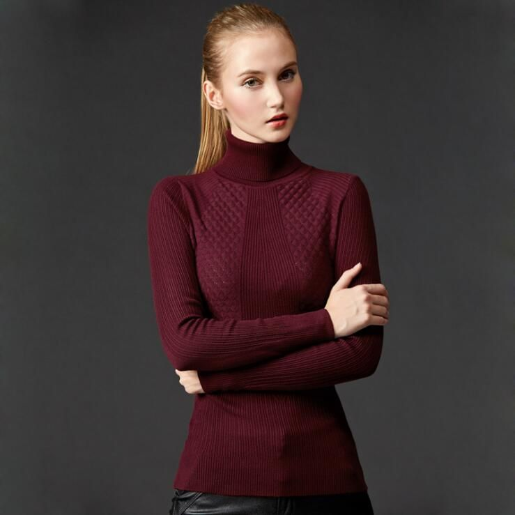 2017 New Fashion Slim Wild High Collar Sweaters Pullovers Women Hollow Out Knitted  Sweaters Girls Casual Clothes European 216bda056437