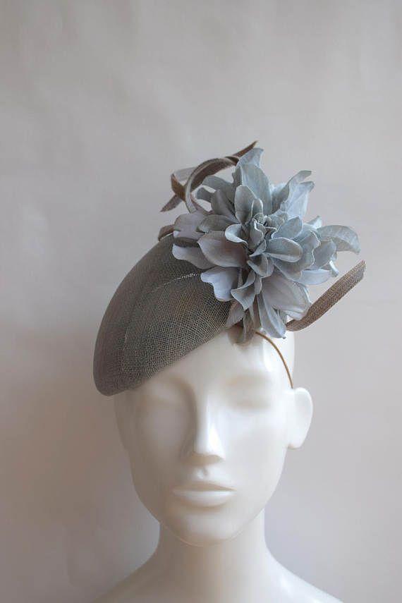 Grey Blue Teardrop Hat - Duck Egg Blue Grey Fascinator - Pale Blue Grey  Headpiece - Slate Blue Kate Hat - Racing Style Hat Headpiece -Jenna 6e0b4989049