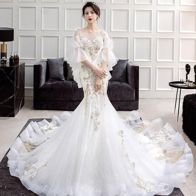 Vestido De Noiva 2018 Luxury Gold Lace Mermaid Wedding Dress Sexy See  Through Embroidery Short Sleeve Wedding Dress Real Picture 57a318855608