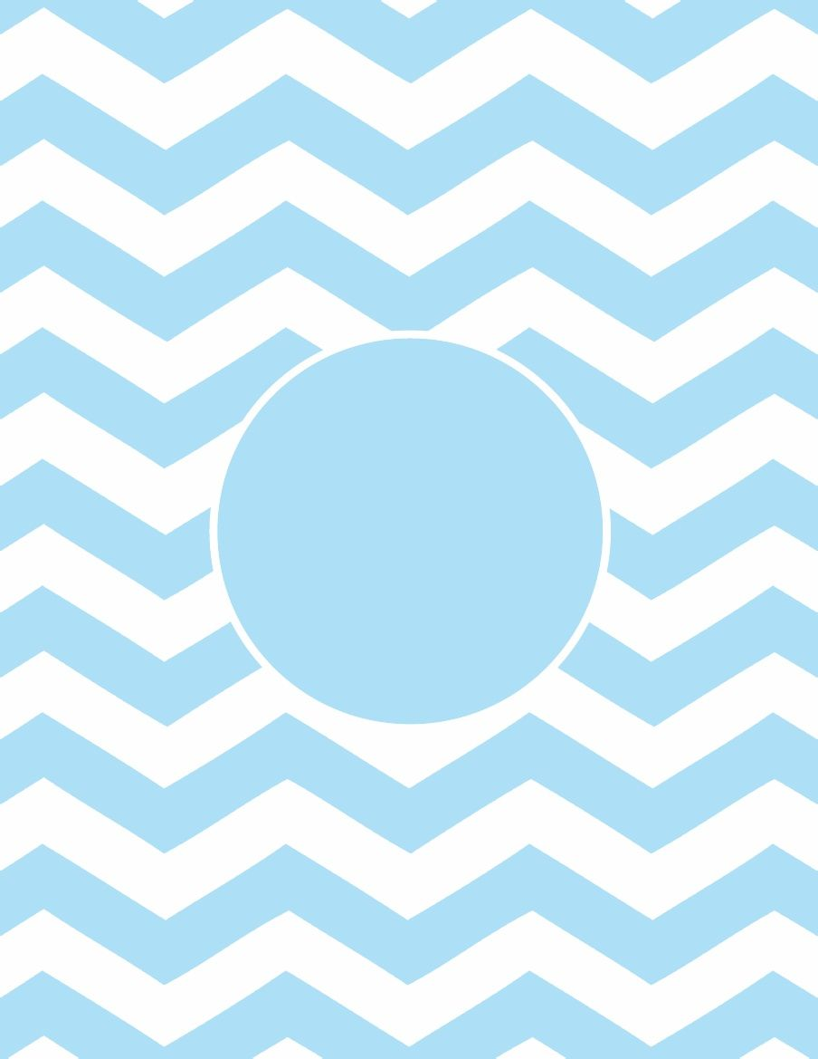 Chevron Printable Monogram - Light Blue