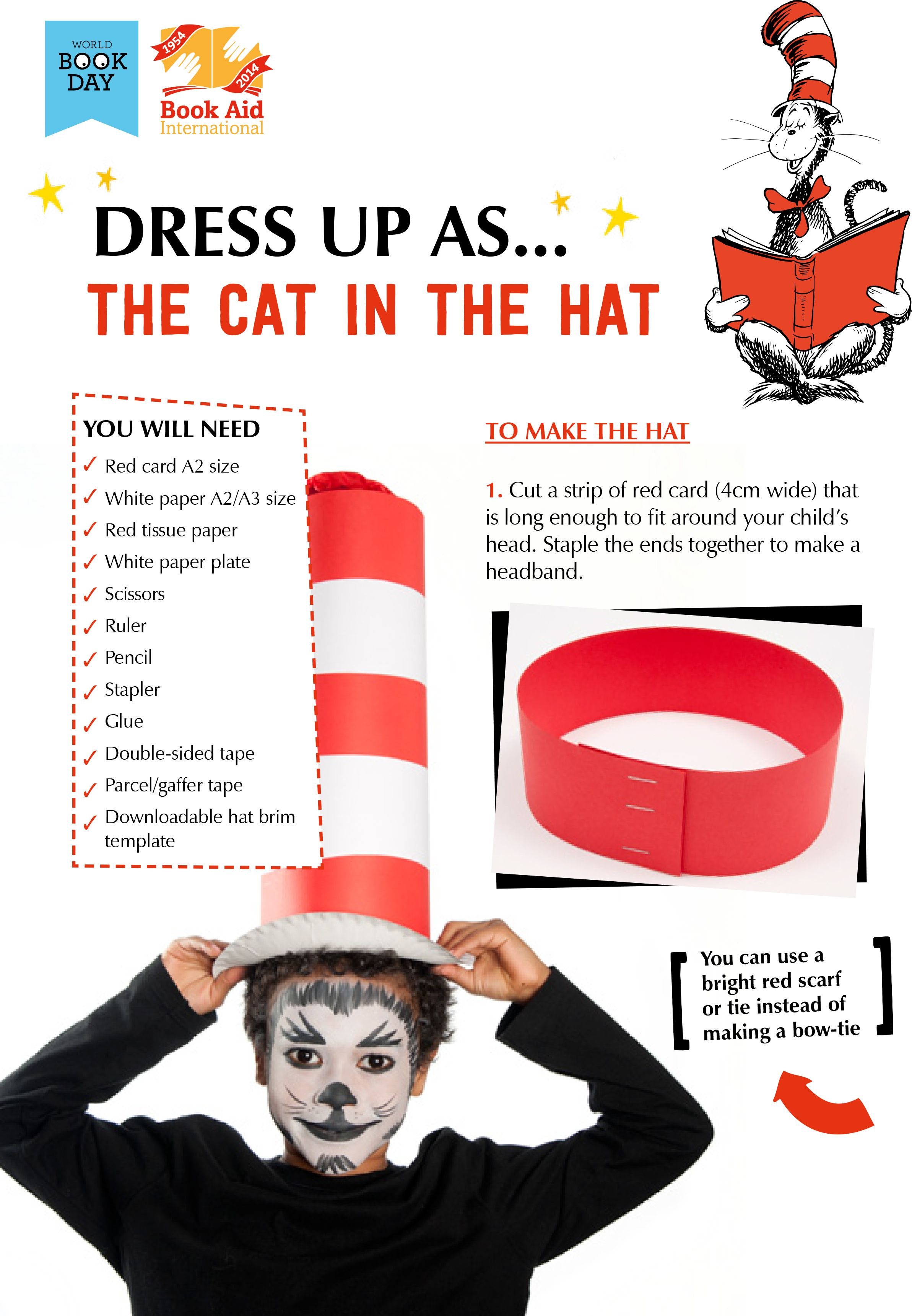 """Dress Up as """"The Cat In the Hat"""" World Book Day DIY"""