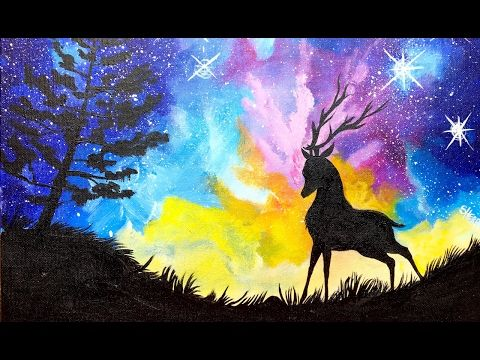 Acrylic Starry Night Sky And Stag With Aurora Borealis