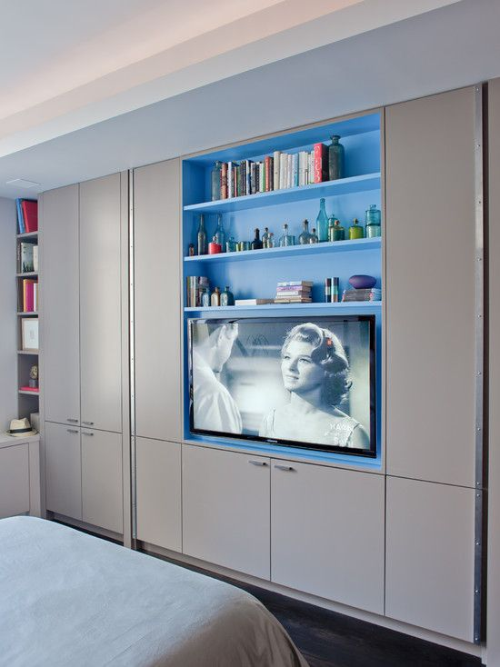 Furniture  Captivating Contemporary Bedroom With Modern Built In Tv Cabinet  With Gray Color Also Comely. Furniture  Captivating Contemporary Bedroom With Modern Built In