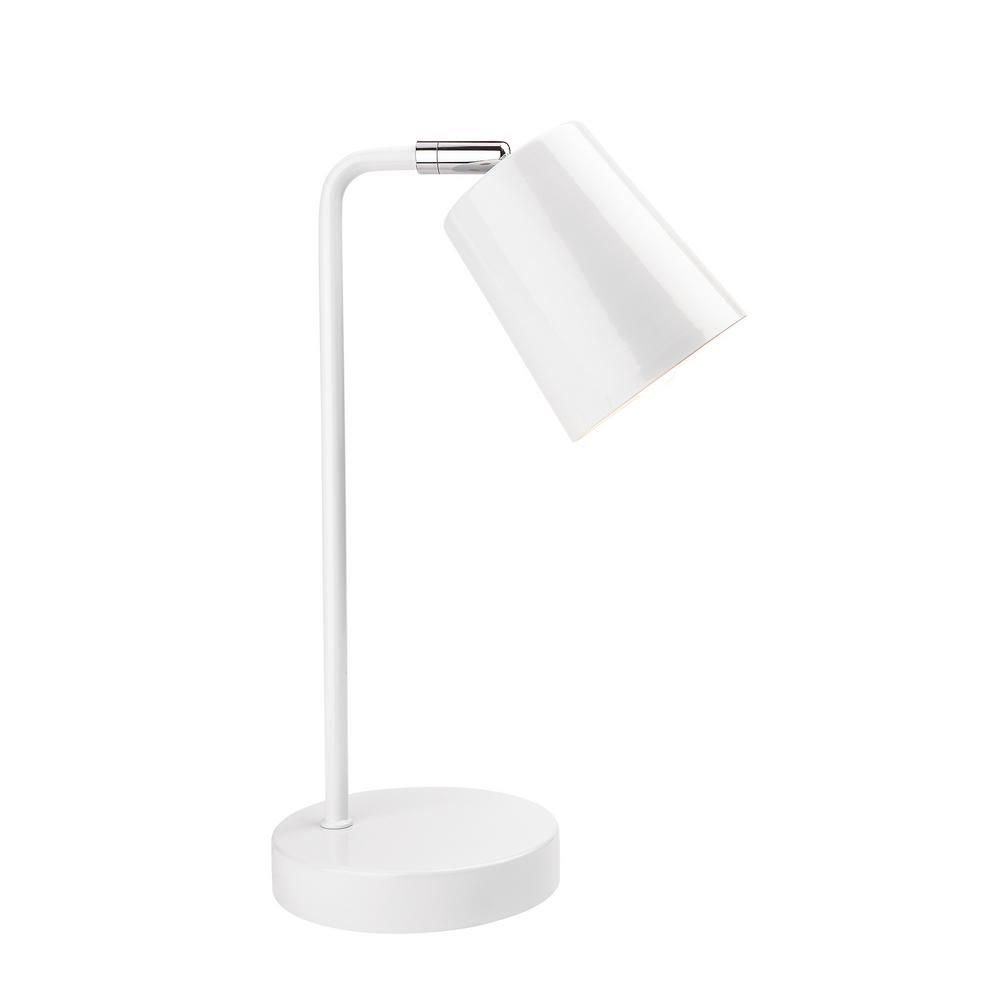 Newhouse Lighting 14 5 In White Contemporary Desk Lamp With Led