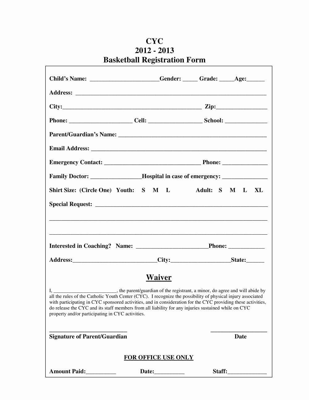 Sports Registration form Template in 2020 Registration