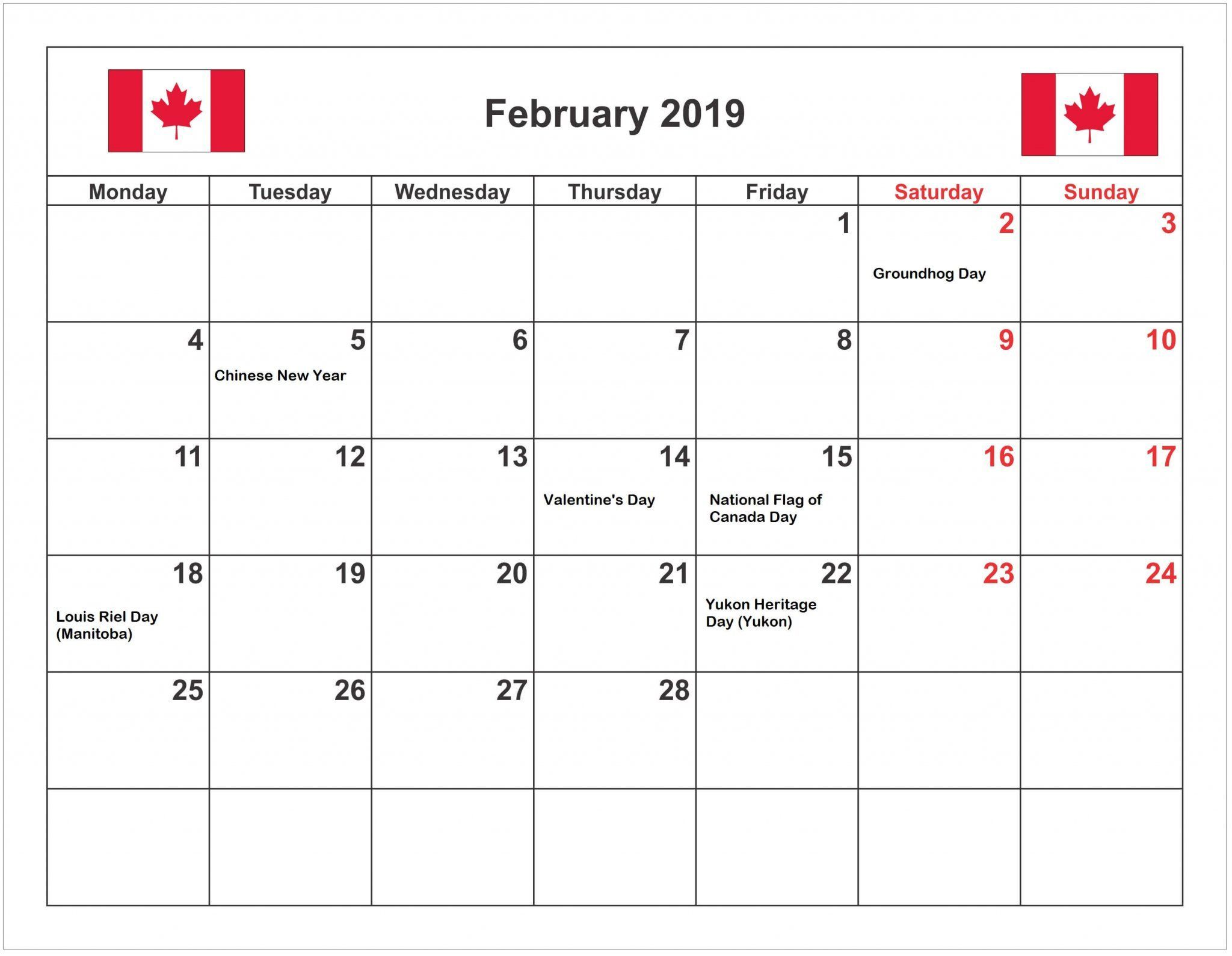 2019 Monthly Calendar Canada February 2019 Calendar With Holidays Canada | Blank February 2019