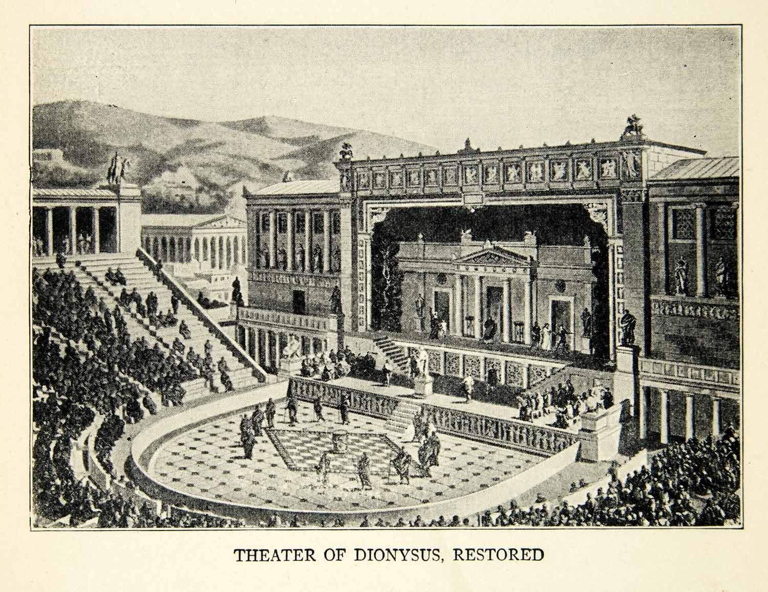1918 Print Ancient Greek Theater Dionysus Restored Athens