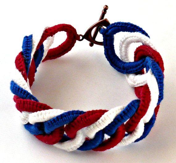 Irish Crochet Bracelet Fiber Bracelet Faux por Nothingbutstring, $40.00