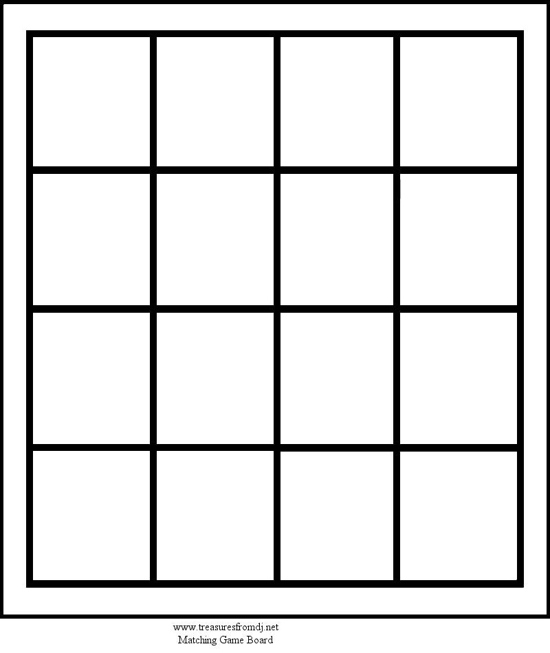 Matching Game Card Template  Diy Board Games For Play Therapy
