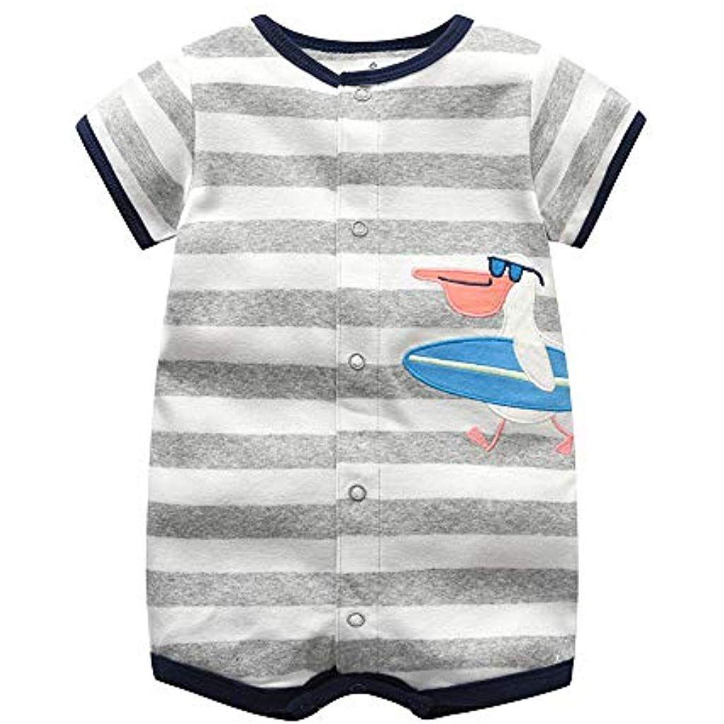 Bebe Pijama Ninos Pelele De Algodon Body Manga Corta Verano