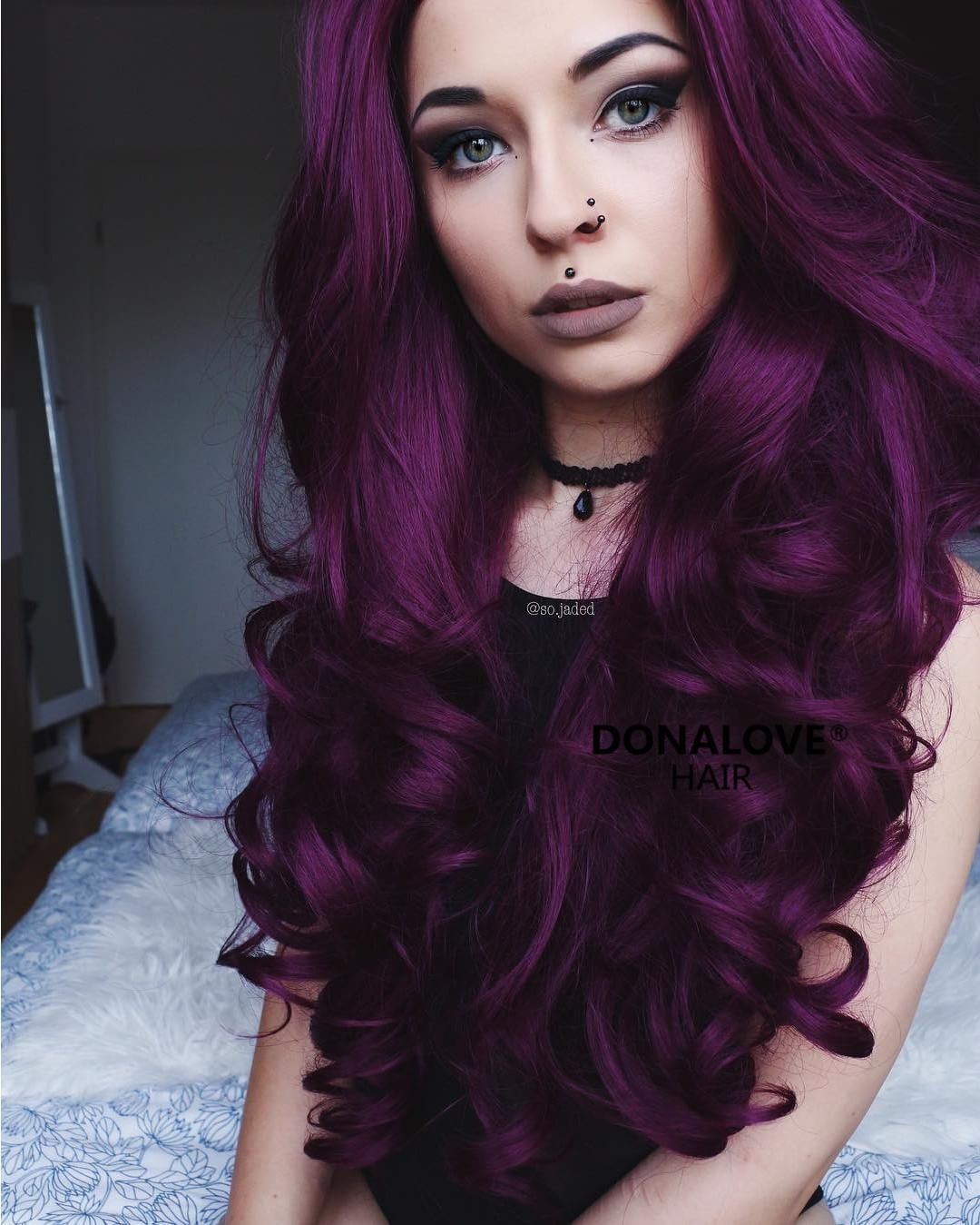 Dark purple wavy waist length lace front synthetic wig  Hair