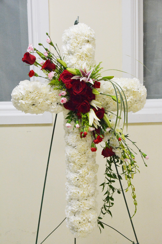 Funeral cross flowers pinterest funeral funeral flowers and funeral cross izmirmasajfo Image collections