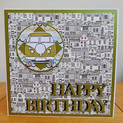 #Campervan birthday card green van seaside #holiday #greetings handmade mirrormad,  View more on the LINK: http://www.zeppy.io/product/gb/2/222058436509/