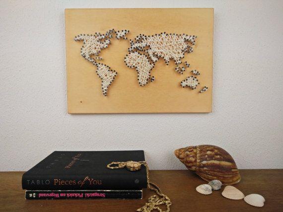 Popular Weltkarte Wanddeko Holz Kleine Weltkarte Wanderlust Geschenk f r Sie Wohnzimmer Deko