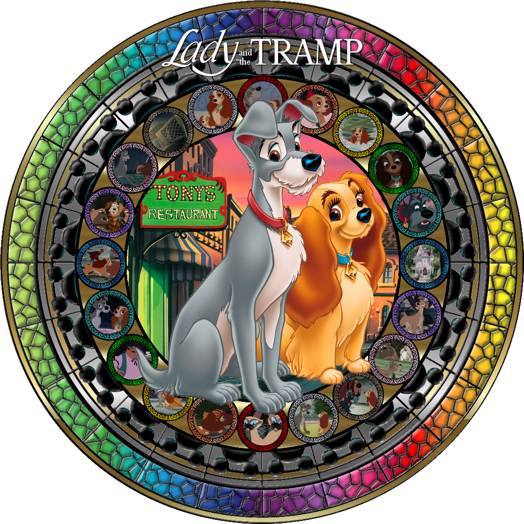 Lady and the tramp stained glass by maleficentviantart