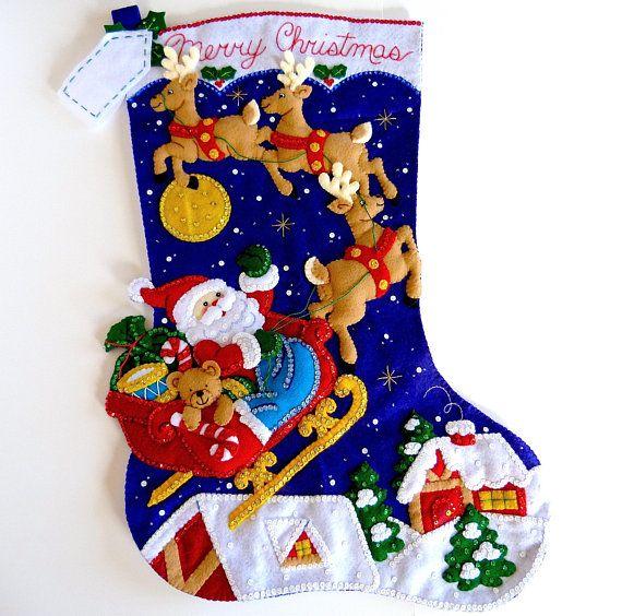 bucilla christmas stockings finished bucilla personalized stocking children kids family jumbo large huge big christmas night santa stocking inspiration - Big Christmas Stockings